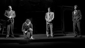 Bill Camp as Charley, Linda Emond as Linda Loman, Finn Wittrock as Happy Loman and Andrew Garfield as Biff Loman in Death of a Salesman.