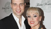 Jujamcyn President Jordan Roth cozies up the lady in red, End of the Rainbow star Tracie Bennett.