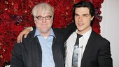 Tony nominee Philip Seymour Hoffman is on hand to honor Finn Wittrock, who played his younger son, Happy, in Death of a Salesman.