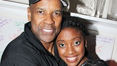 Condola Rashad, who stars as Juliet, joins Denzel Washington for a backstage snapshot.