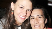 Sutton Foster embraces Shrek composer Jeanine Tesori.