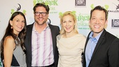 Sutton Foster, Christopher Sieber and John Tartaglia grab a fun (and green fuzzy-eared) photo op with celebrity guest Kelly Rutherford.