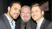 Host Harvey Fierstein, whose musical Kinky Boots won the Casting Society of America's Artios Award for in the Broadway musical category, celebrates with Graceland co-stars Daniel Sunjata (now on Broadway in Macbeth) and Aaron Tveit.