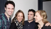 Jake Epstein, Jessie Mueller, Jarrod Spector and Anika Larsen share a laugh between takes.