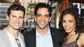 Pippin stars Kyle Dean Massey and Ciara Renee flank Bullets Over Broadway standout Nick Cordero.