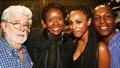 Hamilton - backstage - 8/15 - George Lucas, wife Mellody Hobson, Nicolette Robinson Odom and husband Leslie Odom Jr
