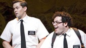 Rema Webb, Andrew Rannells as Elder Price and Josh Gad as Elder Cunningham in The Book of Mormon.