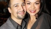 They know how it's done! Presenters and In the Heights pals Lin-Manuel Miranda and Karen Olivo put on their best awards show smiles for our camera.