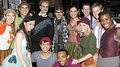 """After blessing Lindsay Mendez with the """"good gift"""" of fashion, Mondo Guerra and Austin Scarlett pose with the cast of Godspell. See them soon on stage at the Circle in the Square Theatre!"""