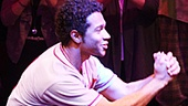 "Corbin thanks the ""Beautiful City"" of New York at Godspell's curtain call."