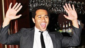 Looking dapper, Corbin Bleu arrives to Tony's di Napoli Restaurant to celebrate!