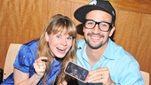 Who's like them? Damn few! Merrily We Roll Along's trio of stars, Celia Keenan-Bolger, Lin-Manuel Miranda and a virtual Colin Donnell (who joined via FaceTime from Canada), celebrate the CD signing.