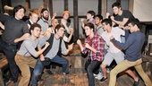 Ready to rumble! The PigPen Theatre Company (left) take on Corey Cott and the Newsies.