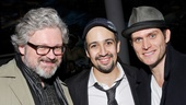 Lin-Manuel Miranda lands between his former Do No Harm co-star Steven Pasquale (r.) and John Ellison Conlee, whose wives, Laura Benanti and Celia Keenan-Bolger, happen to be best friends!