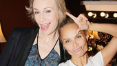 Former Glee co-stars Jane Lynch and Kristin Chenoweth do their best Gleek pose. Someone get a slushie!