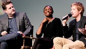 Pippin title star Matthew James Thomas fields a fan's question while Paul Wontorek and Patina Miller look on.