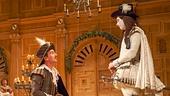 Joseph Timms as Sebastian, Mark Rylance as Olivia, Peter Hamilton Dyer as Feste, Liam Brennan as Orsino & Samuel Barnett as Viola inTwelfth Night