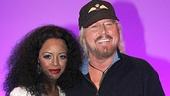 New Motown star Krystal Joy Brown greets Barry Gibb backstage.