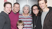 Mothers and Sons star Bobby Steggert, producer Tom Kirdahy, and stars Grayson Taylor, Tyne Daly and Frederick Weller hang out backstage with Rosie O'Donnell.