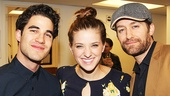Darren Criss and Matthew Morrison pose with Danielle Wade, who plays Dorothy in the national tour of The Wizard of Oz.