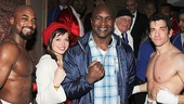 Rocky co-stars Terence Archie (Apollo Creed), Margo Seibert (Adrian) and Andy Karl (Rocky Balboa) greet boxing legend Evander Holyfield.