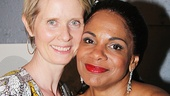 Tony winner Cynthia Nixon greets Audra McDonald backstage.
