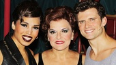 Ciara Renee (Leading Player) and Kyle Dean Massey (Pippin) rally around Priscilla Lopez (Berthe) after her first performance.