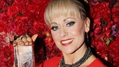The Belasco Theatre's resident star Tracie Bennett shows off her Theatre World Award. Congrats to all the winners of this coveted honor.