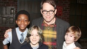 Kinky Boots youngsters Cole Bullock and Sebastian Hedges Thomas take a snapshot with Matthew Broderick and his son James Wilkie.