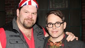 Kinky Boots player Daniel Stewart Sherman greets Matthew Broderick.