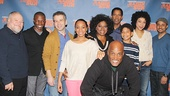 Stephen McKinley Henderson, Sean Patrick Thomas, David Cromer, Anika Noni Rose, LaTanya Richardson Jackson, Denzel Washington, director Kenny Leon,  Bryce Clyde Jenkins, Sophie Okonedo and Jason Dirden take a company photo. See A Raisin in the Sun beginning March 8 at the Ethel Barrymore Theatre!