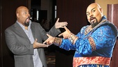 James Monroe Iglehart gets silly with a cardboard cutout of the Genie.
