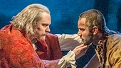 Adam Monley as The Bishop and Ramin Karimloo as Jean Valjean in Les Miserables Photo by Michael Le Poer Trench