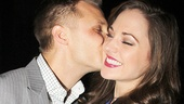 Aww! Laura Osnes gets an opening night smooch from her husband, photographer Nathan Johnson.