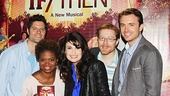 If/Then co-composer Tom Kitt strikes a pose with stars LaChanze, Idina Menzel, Anthony Rapp and James Snyder.