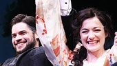 Jeremy Jordan and Laura Michelle Kelly are all smiles at the curtain call.