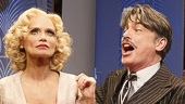 Kristin Chenoweth as Lily Garland, Peter Gallagher as Oscar Jaffee, Mark Linn-Baker as Oliver Webb, Michael McGrath as Owen O'Malley, Mary Louise Wilson as Letitia Peabody Primrose & Andy Karl as Bruce Granit in On the Twentieth Century