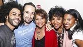 Hamilton - backstage - 9/15 - Daveed Diggs, Lin Manuel Miranda, Debbie Allen, sister Phylicia Rashad and Renee Elise Goldsberry