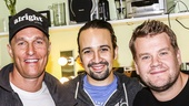 Hamilton - backstage - 10/15 - Matthew McConaughey, Lin-Manuel Miranda and James Corden