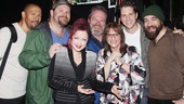 Dapper gents Eugene Barry-Hill, Daniel Stewart Sherman, Eric Leviton, Andy Kelso and Eric Anderson laugh it up backstage with Cyndi Lauper and Patti LuPone.