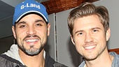 Graceland stars Manny Montana and Aaron Tveit bro out backstage as they congratulate their TV co-star Daniel Sunjata on his performance in Macbeth.