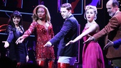 Cortney Wolfson (Nicola), Billy Porter (Lola), Andy Kelso (Charlie), Jeanna de Waal (Lauren) and Marcus Neville (George) salute the Kinky Boots band at curtain call.