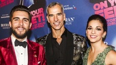 On Your Feet! - Opening - 11/15 - Josh Segarra and Ana Villafane flank director Jerry Mitchell