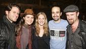 Hamilton - backstage - wide - 11/15 - Steven Pasquale, Phillipa Soo, Marin Ireland, Lin-Manuel Miranda and Ben Foster