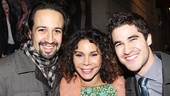 Rent alum Daphne Rubin-Vega, In the Heights scribe Lin-Manuel Miranda and Glee star Darren Criss enjoy the post-show party.