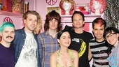 Group shot! Matt Duncan (bass, guitar and keyboards) Tim Mislock (guitar), Justin Craig (guitar and keyboards) Neil Patrick Harris (Hedwig), Peter Yanowitz (drums) and Lena Hall (Yitzhak) strike a pose with Katy Perry.