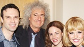 Queen guitarist Brian May hangs out with Beautiful stars Jarrod Spector, Jake Epstein, Jessie Mueller, Sara King (on for Anika Larsen as Cynthia Weil), Liz Larsen and Jeb Brown backstage.