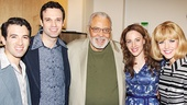 Beautiful stars Jarrod Spector, Jake Epstein,  Jessie Mueller and Sara King (on for Anika Larsen as Cynthia Weil) with A Delicate Balence star James Earl Jones.
