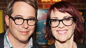 Another reunion! How to Succeed in Business Without Really Trying alums Matthew Broderick and Megan Mullally flash big smiles on press day.
