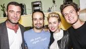 Hamilton - backstage - 9/15 - Liev Schreiber, Lin-Manuel Miranda, Naomi Watts and Jonathan Groff